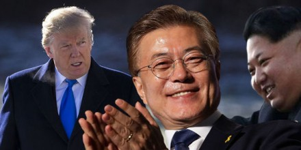 Donald Trump, Moon Jae-in, and Kim Jong Un