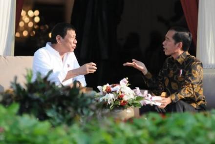 Rodrigo Duterte and Joko Widodo at the Presidential Palace in Jakarta, Indonesia